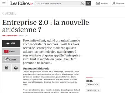 Article Entreprise 2.0 : la nouvelle arlésienne